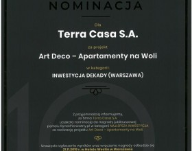 Art Deco Wola and NY Residence nominated for the Project of the Decade title