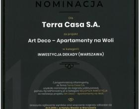 Art Deco Wola iNY Residence nominowane dotytułu Inwestycja Dekady