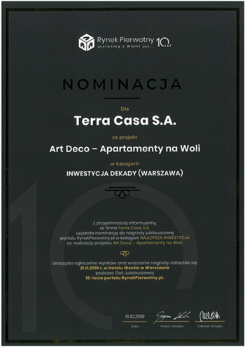 Nominacja donagrody zaArt Deco (Copy) (Copy)